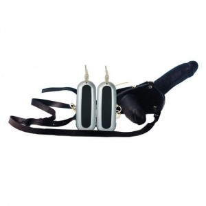 VIBRATORE INDOSSABILE STRAP-ON DOPPIO CON CINTURA IN LATTICE - NERO