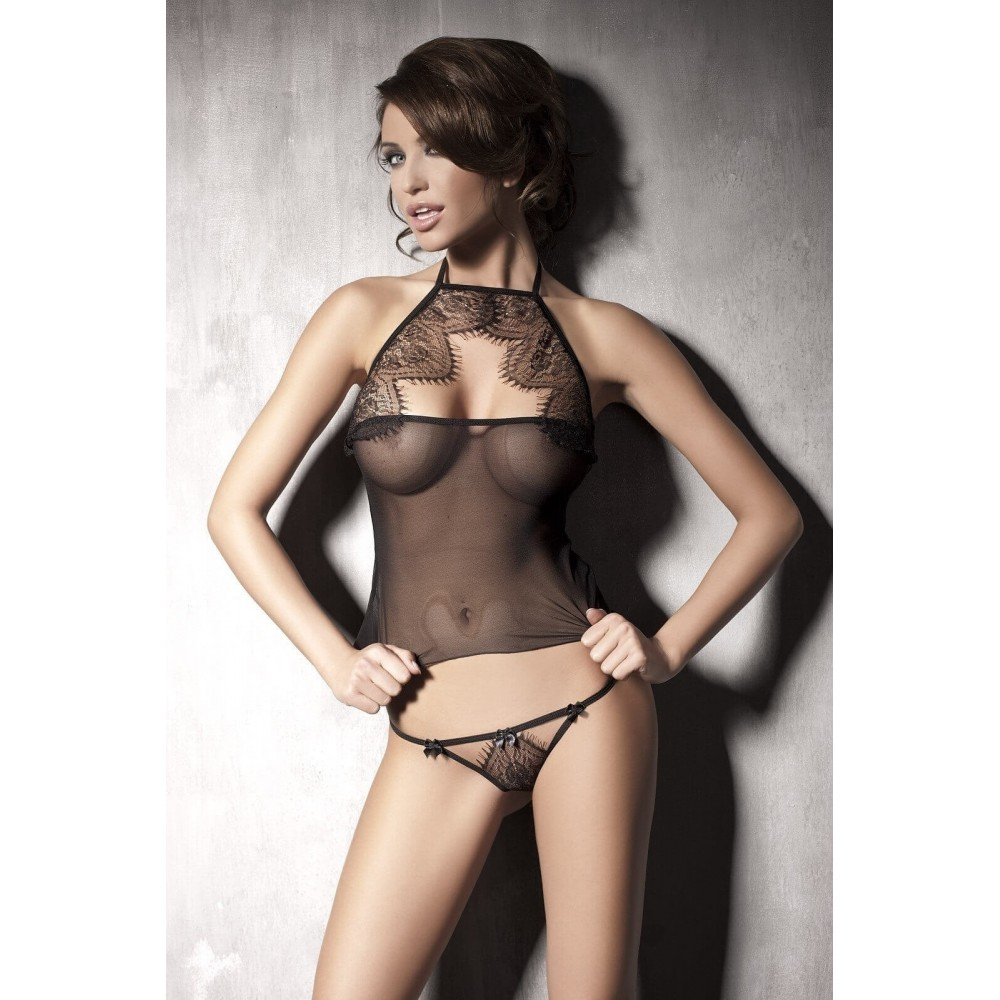 COMPLETO SEXY ANAIS LINGERIE 'MYSTERIOUS' - NERO